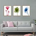 hesapli Çerçeveli Resimler-Çerçeveli Sanat Baskısı Çerçeve Seti - Soyut Çiçek / Botanik Polisitren Çizim Duvar Sanatı