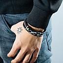 זול שורטים, מכנסיים, טייצים לרכיבת אופניים-בגדי ריקוד גברים צמידי עור צמיד חוליות Crossover צמיג מסוגנן עיצוב מיוחד פאנק טרנדי פלדת טיטניום צמיד תכשיטים שחור עבור Party מתנה יומי קרנבל מועדונים