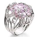 זול מוקסינים לנשים-בגדי ריקוד נשים טבעת הטבעת טבעת זירקונה מעוקבת 1pc ורוד אבני חן וקריסטל נחושת Geometric Shape מסוגנן פאר Party מתנה תכשיטים מגניב