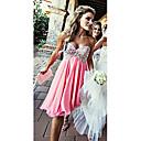 זול שמלות שושבינה-גזרת A לב (סוויטהארט) באורך  הברך שיפון שמלה לשושבינה  עם אפליקציות על ידי JUDY&JULIA