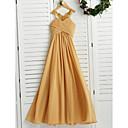 זול שמלות שושבינה-גזרת A קולר עד הריצפה שיפון שמלה לשושבינות הצעירות  עם אפליקציות / סלסולים על ידי LAN TING BRIDE® / מסיבת החתונה