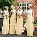 זול שמלות שושבינה-גזרת A עם תכשיטים עד הריצפה שיפון שמלה לשושבינה  עם תחרה על ידי JUDY&JULIA