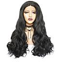 זול קופסאות טלוויזיה-פאות סינתטיות סינתטי תחרה פאות הקדמי Body Wave סגנון חלק אמצעי חזית תחרה פאה שחור שיער סינטטי 26inch בגדי ריקוד נשים ללא ריח רך קל לנשיאה שחור פאה ארוך / שיער טבעי / שיער טבעי