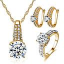 זול Fashion Ring-בגדי ריקוד נשים זירקונה מעוקבת סטי תכשיטי כלה גיאומטרי שִׂמְחָה מסוגנן ציפוי זהב עגילים תכשיטים זהב / כסף עבור Party יומי 1set