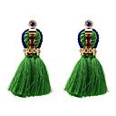 זול עגילים אופנתיים-בגדי ריקוד נשים עגילי טיפה עגילים תכשיטים שחור / אדום / ירוק עבור יומי 1pc