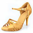 hesapli Latin Dans Ayakkabıları-Kadın's Saten Latin Dans Ayakkabıları Topuklular İnce Topuk Kişiselleştirilmiş Haki