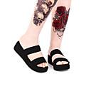 povoljno Lolita obuća-Punk Wedge Heel Cipele Jednobojni 5 cm CM Crn Za Žene Umjetna koža Halloween kostime