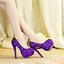 hesapli Kadın Düğün Ayakkabıları-Kadın's Düğün Ayakkabıları Stiletto Topuk Yuvarlak Uçlu Kristal / Işıltılı Pullar PU Vintage / Tatlı İlkbahar & Kış / İlkbahar yaz Mor / Parti ve Gece