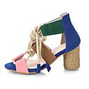 hesapli Kadın Sandaletleri-Kadın's Sandaletler Kalın Topuk Burnu Açık PU Günlük Yürüyüş İlkbahar yaz / Sonbahar Kış Yeşil ve Mavi / Mavi+Pembe / Beyaz