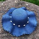 halpa Naisten hatut-Naisten Aktiivinen Perus söpö tyyli Olkihattu Aurinkohattu-Color Block Olki Kesä Syksy Punastuvan vaaleanpunainen Laivaston sininen Khaki