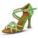 hesapli Latin Dans Ayakkabıları-Kadın's Dans Ayakkabıları Sentetikler Latin Dans Ayakkabıları Işıltılı Pullar / Parıltı / Kristaller / Yapay Elmaslar Topuklular Kıvrımlı Topuk Kişiselleştirilmiş Altın / Yeşil / Egzersiz