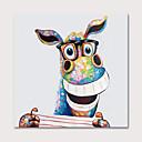 זול ציורי נוף-ציור שמן צבוע-Hang מצויר ביד - חיות אומנות פופ מודרני כלול מסגרת פנימית