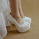 hesapli Kadın Düğün Ayakkabıları-Kadın's Düğün Ayakkabıları Stiletto Topuk Yuvarlak Uçlu İmistasyon İnci / Saten Çiçek PU Tatlı / Minimalizm İlkbahar yaz / Sonbahar Kış Beyaz / Kırmzı / Parti ve Gece
