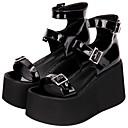 baratos Sapatos Lolita-Punk Creepers Sapatos Sólido 10 cm CM Preto Para Mulheres Couro PU / Couro de Poliuretano Trajes da Noite das Bruxas