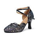 זול נעלי עקב לנשים-בגדי ריקוד נשים נעלי ריקוד סינטטיים נעליים מודרניות Paillette עקבים עקב קובני מותאם אישית שחור / הצגה