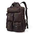 povoljno Školske torbe-Vodootporno Kravlja koža Patent-zatvarač ruksak Jedna barva Dnevno Tamno smeđa / Muškarci
