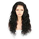 hesapli Gerçek Saç Örme Peruklar-Kökten Saç Ön Dantel Peruk stil Düz Brezilya Saçı Derin Dalga Siyah Peruk % 130 Saç yoğunluğu Siyah Kadın's Orta Uzunluk Gerçek Saç Örme Peruklar beikashang
