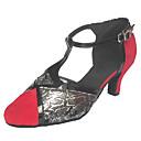 זול נעלי ריקודים ונעלי ריקוד מודרניות-בגדי ריקוד נשים נעלי ריקוד סוויד נעליים מודרניות עקבים עקב קובני שחור אדום / כתום ושחור