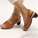 hesapli Kadın Sandaletleri-Kadın's Sandaletler Küba Topuk Açık Uçlu PU Günlük Yaz Kahverengi / Kırmzı / Mavi