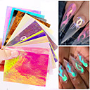 voordelige Nagelfoliepapier-nagel de vlam sticker hete stijl laser iriserende nagel stok met 16 kleuren een tandvlees