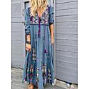 hesapli iPhone Kılıfları-Kadın's Sokak Şıklığı Salaş Kombinezon Elbise - Çiçekli, Desen Derin V Maksi