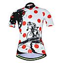 povoljno Biciklističke majice-21Grams Točkica Gear Žene Kratkih rukava Biciklistička majica - Red / White Bicikl Biciklistička majica Majice Prozračnost Ovlaživanje Quick dry Sportski Terilen Brdski biciklizam Odjeća