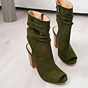 povoljno Ženske čizme-Žene Čizme Kockasta potpetica Peep Toe Platno Čizme do pola lista Proljeće & Jesen Crn / Vojska Green / Braon