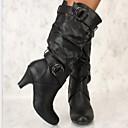 hesapli Kadın Botları-Kadın's Çizmeler Düşük Topuk Yuvarlak Uçlu Toka PU Diz Boyu Çizmeler Kış Siyah / Beyaz