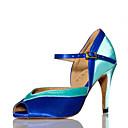 povoljno Cipele za latino plesove-Žene Plesne cipele Saten Cipele za latino plesove Isprepleteni dijelovi Štikle Tanka visoka peta Moguće personalizirati Plava / Seksi blagdanski kostimi