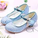 זול Kids' Flats-בנות נעליים לילדת הפרחים PU עקבים ילדים קטנים (4-7) נצנצים כסף / כחול / ורוד סתיו