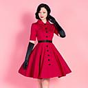 povoljno Stare svjetske nošnje-Audrey Hepburn Retro / vintage 1950-te Haljine Povorka maski Žene Kostim Srebrna Vintage Cosplay Pamuk Party / Haljina