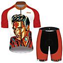 hesapli Bisiklet Formaları-21Grams Elvis Presley Erkek Kısa Kollu Şortlu Bisiklet Forması - Kırmızı ve Beyaz Bisiklet Giysi Takımları Nefes Alabilir Hızlı Kuruma Yansıtıcı çizgili Spor Dalları %100 Polyester Dağ Bisikletçiliği