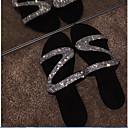 hesapli Kadın Sandaletleri-Kadın's Sandaletler Düz Taban Yuvarlak Uçlu Taşlı PU Yaz Siyah