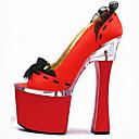 povoljno Ženske čizme-Žene Cipele na petu Sitna kockasta potpetica Peep Toe Ušivena čipka PU Klasik Proljeće / Jesen Crn / Crno Zlato / Light Red / Zabava i večer