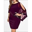 저렴한 여성 샌달-여성용 플러스 사이즈 베이직 루즈핏 티셔츠 드레스 - 솔리드, 스팽글 패치 워크 무릎 위