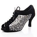 זול נעלי ריקודים ונעלי ריקוד מודרניות-בגדי ריקוד נשים נעלי ריקוד סינטטיים נעליים לטיניות צדדית חלולה עקבים סלים גבוהה עקב מותאם אישית שחור / כסף /  שחור / שקד / עור