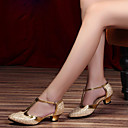 זול נעלי ריקודים ונעלי ריקוד מודרניות-בגדי ריקוד נשים נעלי ריקוד עור נעליים מודרניות עקבים עקב עבה מותאם אישית שחור / אפור כסוף / סגול / הצגה