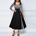 billige Mote Halskjede-Dame Store størrelser Swing Kjole - Stripet Skjortekrage Midi