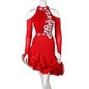 povoljno Plesni kostimi-Latino ples Haljine Žene Seksi blagdanski kostimi Spandex Kombinacija materijala / Kristali / Rhinestones Dugih rukava Prirodno Haljina