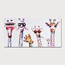 povoljno Slike sa životinjskim motivima-Hang oslikana uljanim bojama Ručno oslikana - Životinje Moderna Uključi Unutarnji okvir