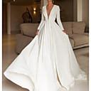 abordables Robes de Mariée 2019-Trapèze Col en V Traîne Brosse Satin Robes de mariée sur mesure avec Détail Cristal par LAN TING Express