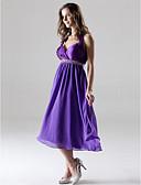 hesapli Nedime Elbiseleri-A-Şekilli Prenses Boyundan Bağlamalı Kalp Yaka Diz Boyu Şifon Şarmöz Boncuklama Kristal Detaylar Drape Haç ile Nedime Elbisesi tarafından