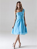 cheap Bridesmaid Dresses-A-Line One Shoulder Knee Length Chiffon Bridesmaid Dress with Ruched by LAN TING BRIDE®