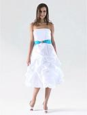 cheap Bridesmaid Dresses-A-Line / Ball Gown Strapless Knee Length Taffeta Bridesmaid Dress with Pick Up Skirt / Sash / Ribbon / Crystal Brooch by LAN TING BRIDE®
