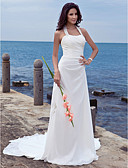 cheap Wedding Dresses-Sheath / Column Halter Neck Court Train Chiffon Made-To-Measure Wedding Dresses with Appliques by LAN TING BRIDE® / Open Back / Open Back / Beautiful Back