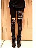 cheap Leggings-Women's Shredded Legging - Cut Out, Solid Colored Mid Waist