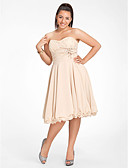 cheap Cocktail Dresses-Plus Size A-Line Sweetheart Neckline Knee Length Chiffon Cocktail Party Dress with Beading / Ruched by TS Couture®
