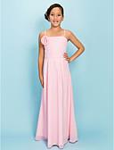 hesapli Çiçekçi Kız Elbiseleri-Sütun Spagetti Askılı Yere Kadar Şifon Drape / Kurdeleler / Çiçekli ile Çocuk Nedime Elbisesi tarafından LAN TING BRIDE® / Bahar / Sonbahar / Kış / Elma / Kum Saati
