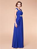 Χαμηλού Κόστους Φορέματα ειδικών περιστάσεων-Ίσια Γραμμή Λαιμόκοψη V Μακρύ Σιφόν Φόρεμα Μητέρας της Νύφης με Χάντρες / Που καλύπτει / Πλαϊνό ντραπέ με LAN TING BRIDE®