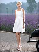 hesapli Gelinlikler-A-Şekilli Scoop Boyun Kısa / Mini Tafta Drape / Kurdeleler ile Kıyafetli Gelinlikler tarafından LAN TING BRIDE® / Küçük Beyaz Elbiseler